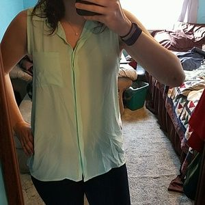 F21 high-low button down blouse